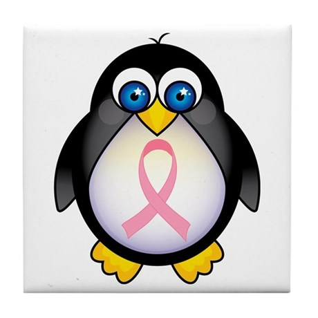 Pink Ribbon Penguin Awareness Tile Coaster