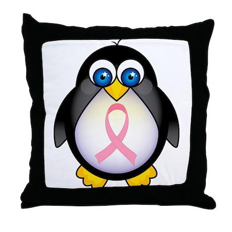 Pink Ribbon Penguin Awareness Throw Pillow