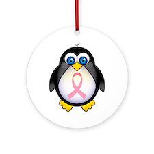 Pink Ribbon Penguin Awareness Ornament (Round)