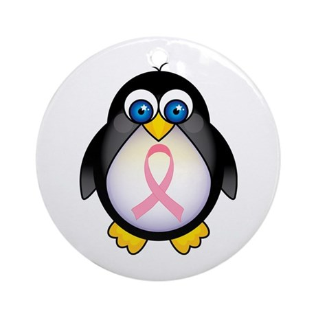 Pink Ribbon Penguin Awareness Ornament (Round)