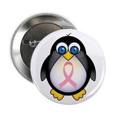 "Pink Ribbon Penguin Awareness 2.25"" Button"