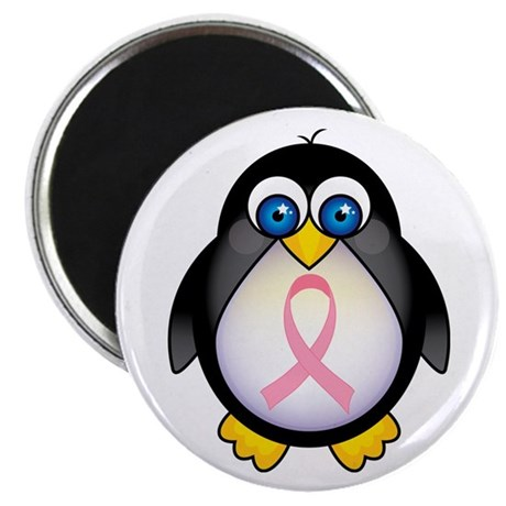 "Pink Ribbon Penguin Awareness 2.25"" Magnet (10 pac"