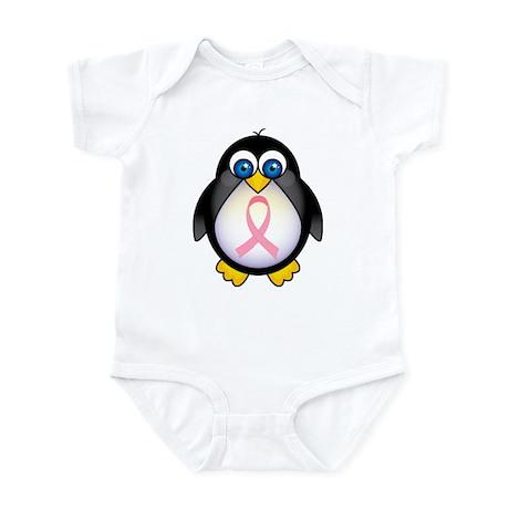 Pink Ribbon Penguin Awareness Infant Bodysuit