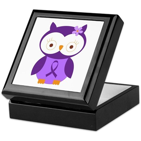Purple Ribbon Awareness Owl Keepsake Box