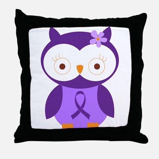 Purple Ribbon Awareness Owl Throw Pillow