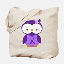 Purple Ribbon Awareness Owl Tote Bag