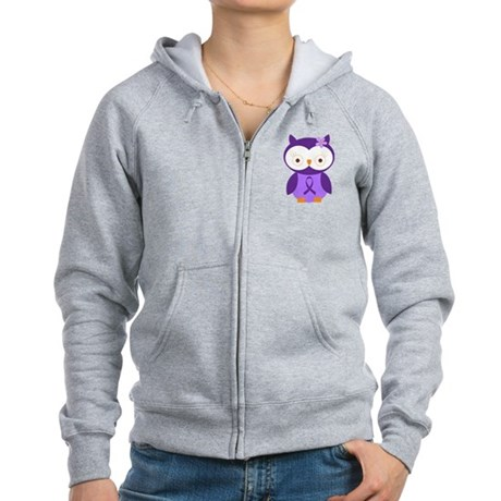 Purple Ribbon Awareness Owl Women's Zip Hoodie
