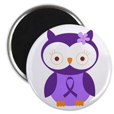 Purple Ribbon Awareness Owl Magnet