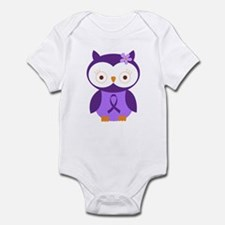 Purple Ribbon Awareness Owl Infant Bodysuit