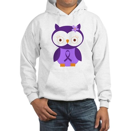 Purple Ribbon Awareness Owl Hooded Sweatshirt