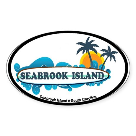 Seabrook Island SC - Surf Design Sticker (Oval)