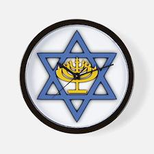 Star of David with Menorah Wall Clock