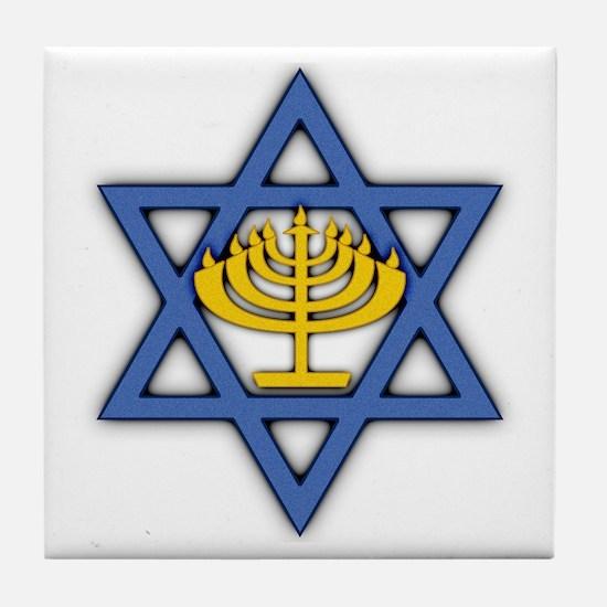 Star of David with Menorah Tile Coaster