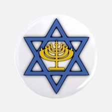 "Star of David with Menorah 3.5"" Button"