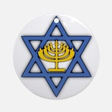 Star of David with Menorah Round Ornament