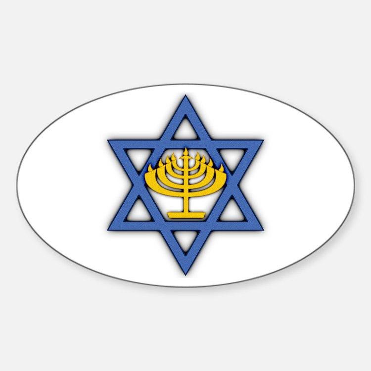 Star of David with Menorah Decal