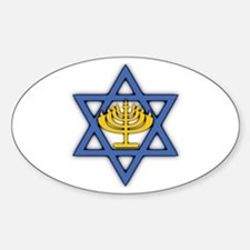 Star of David with Menorah Sticker (Oval)