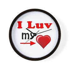 I Luv My Heart Wall Clock