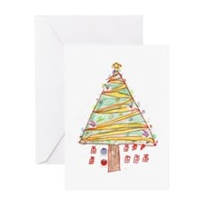 Kid's Drawing of Christmas Tree Greeting Card