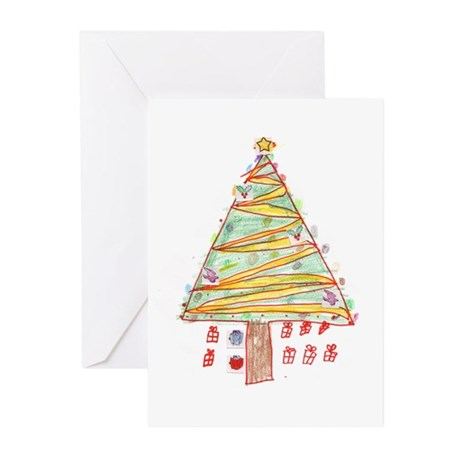 Kid's Drawing of Christmas Tree Greeting Cards (Pk
