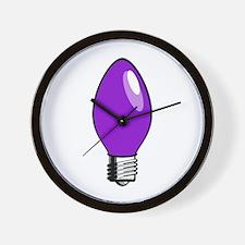 Purple Christmas Tree Light Bulb Wall Clock