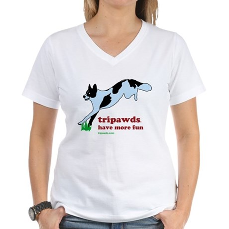 Tripawds Have More Fun Women's V-Neck T-Shirt