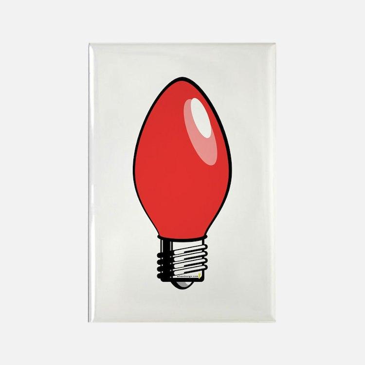 Red Christmas Tree Light Bulb Rectangle Magnet
