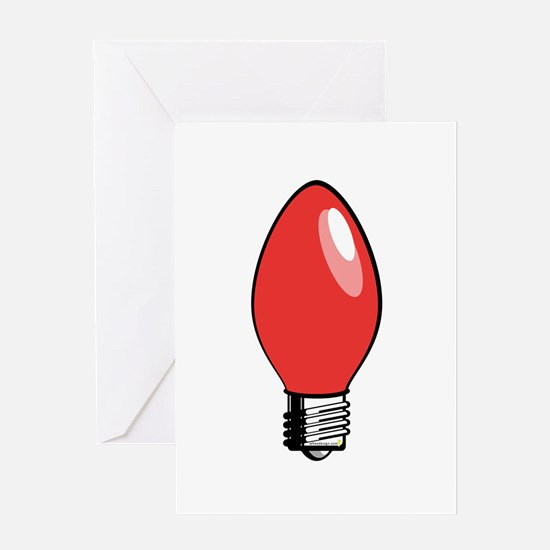 red christmas tree light bulb greeting card - Christmas Tree Light Bulb