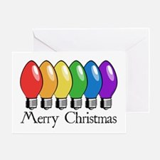 Merry Christmas Rainbow Light Greeting Card