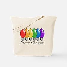 Merry Christmas Rainbow Lights Tote Bag