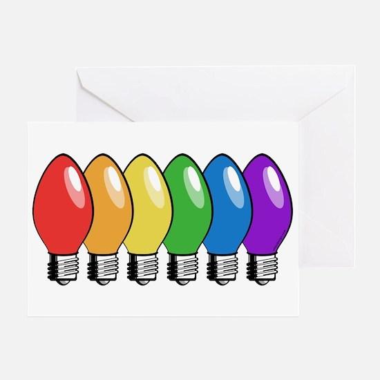 Rainbow Christmas Tree Lights Greeting Card