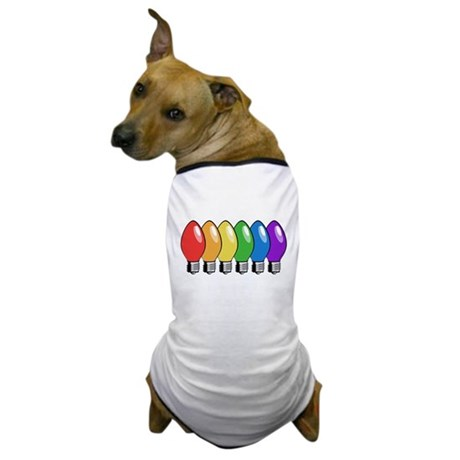 Rainbow Christmas Tree Lights Dog T-Shirt
