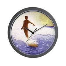 Surfing Waikiki Wall Clock