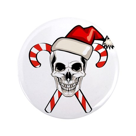 "Christmas Skull 3.5"" Button"