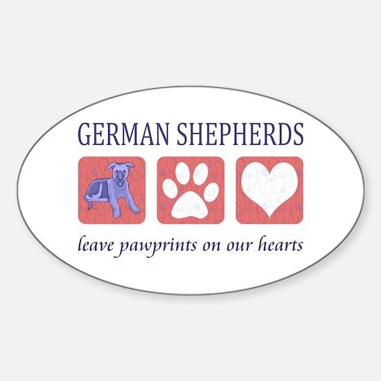 German Shepherd Pawprints Sticker (Oval)
