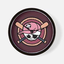 Baseball Pirate -Girl Wall Clock