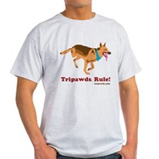 Tripawds Rule Running GSD White BKG T-Shirt
