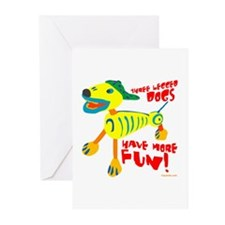 Three Legged Dogs More Fun Greeting Cards (Pk of 1