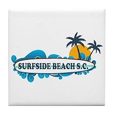Surfside Beach - Surf Design. Tile Coaster