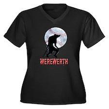WEREWERTH Women's Plus Size V-Neck Dark T-Shirt