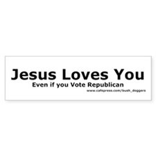 Jesus Loves You Bumper Sticker (white)