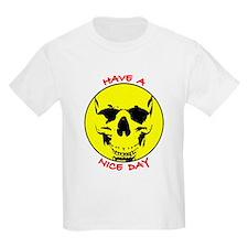 Smiley Face Skull Nice Day Kids T-Shirt