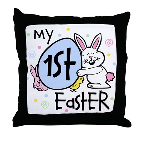Bunny Chickie 1st Easter Throw Pillow