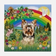 Rainbow/Yorkie (#7) Tile Coaster