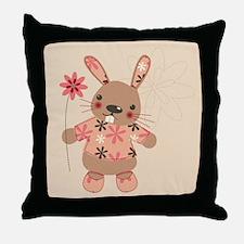 Cute Rabbit & Flowers Throw Pillow
