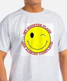 Sinister Smiley Face Ash Grey T-Shirt