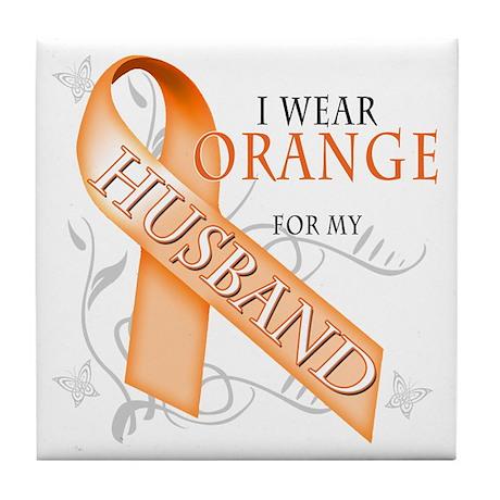 I Wear Orange for my Husband Tile Coaster