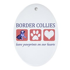 Border Collie Lover Ornament (Oval)