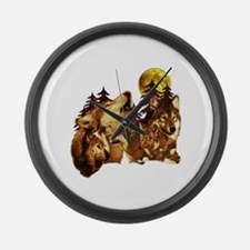 Wolves Large Wall Clock