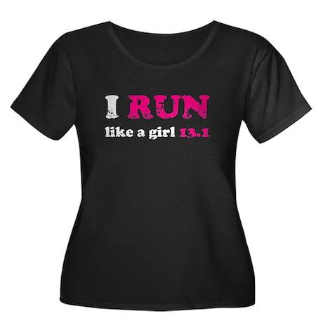I run like a girl 13.1 Women's Plus Size Scoop Nec